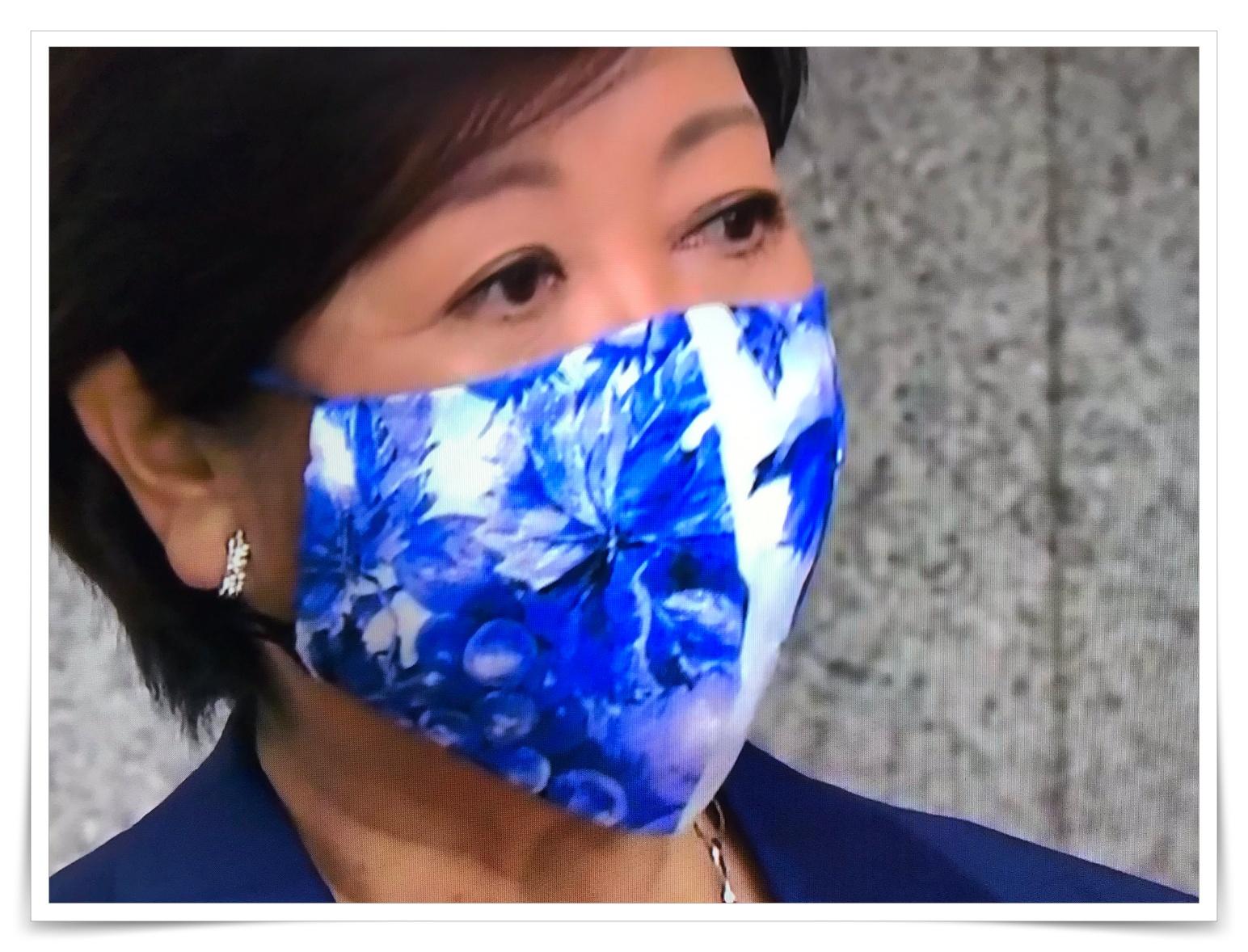 小池百合子都知事のブルーの花柄マスクの画像