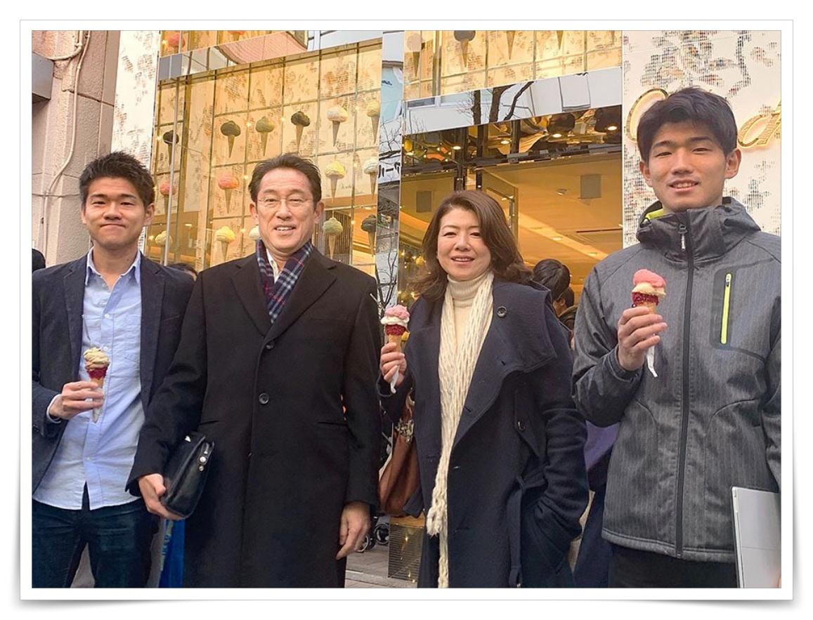 岸田文雄と夫人と息子とのインスタ画像