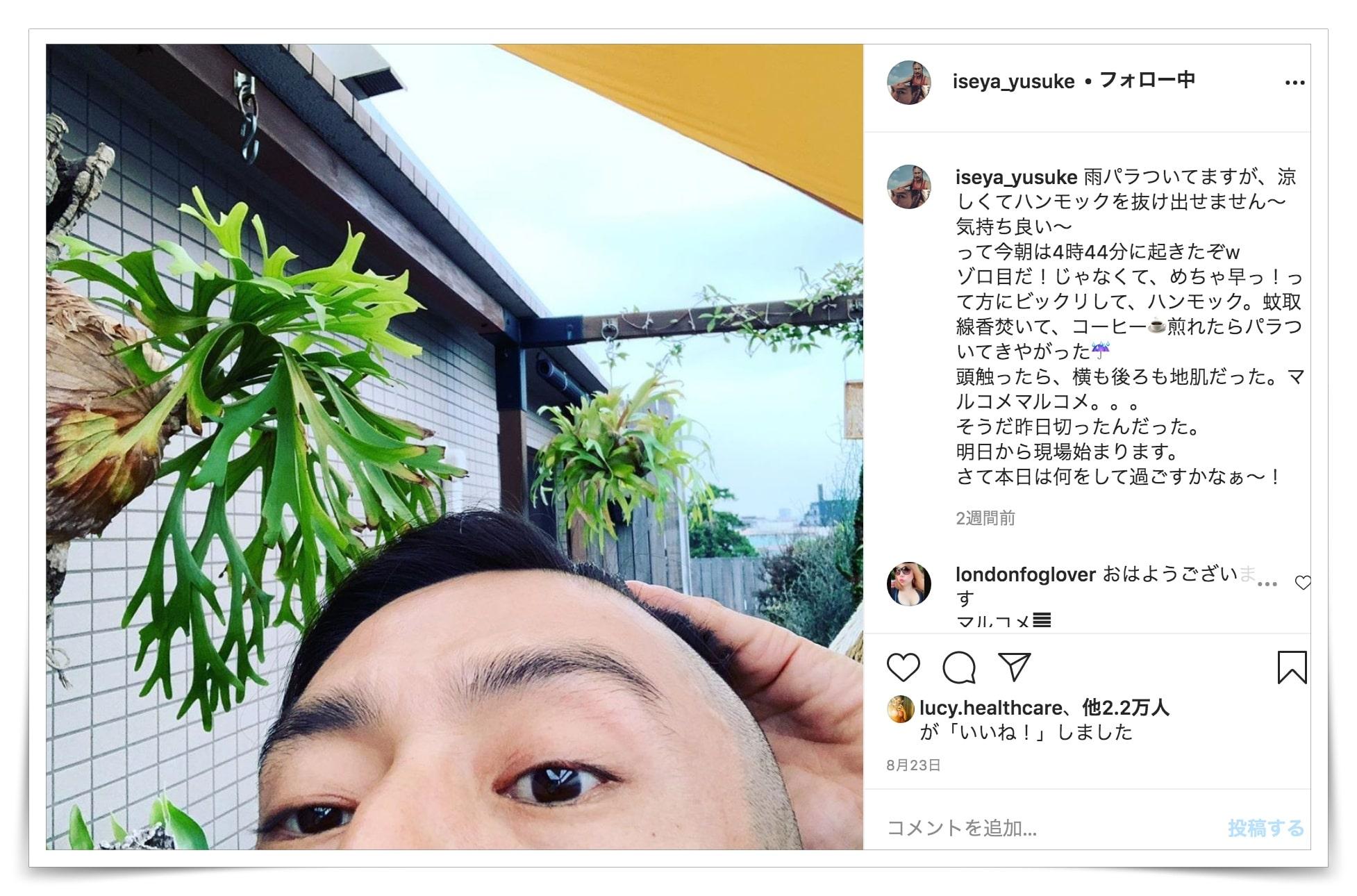 伊勢谷友介の栽培のインスタ画像