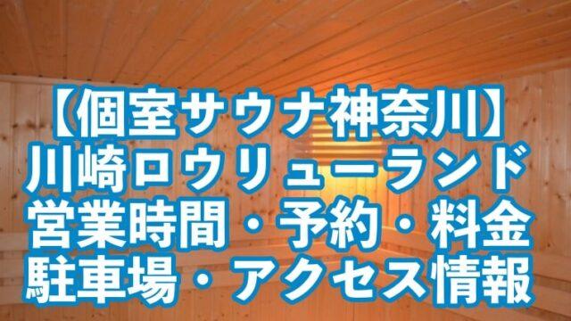個室サウナ,神奈川,川崎,ロウリューランド,営業時間,予約,アクセス,料金,駐車場,メニュー